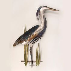Stainless steel heron is created by Copper Art. Size is approx. 25 x 35 x Metal hanger along back for easy display. Heron can be hung outdoors on a patio or lanai with some cover. Looks great alone or with our Heron and flying heron. Sea Sculpture, Metal Wall Sculpture, Wall Sculptures, Metal Art Decor, Large Metal Wall Art, Trap Art, Metal Art Projects, Copper Art, Metal Hangers