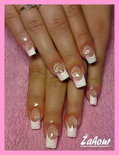 NagelDesign Elegant ( French nails ideas – http… ) – NagelDesign Elegant ♥ Acrylic Nails, Gel Nails, Nail Polish, French Nail Designs, Nail Art Designs, French Nails, Cute Nails, Pretty Nails, American Nails