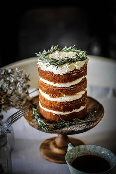 pear and parsnip cake with rosemary syrup