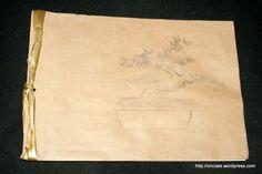 reliure japonaise avec illustration d'un bonsai