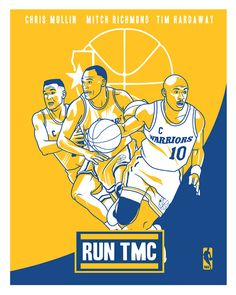 "Chris Mullin #17, Mitch Richmond #23 & Tim Hardaway #10 ""RUN TMC"" Golden State Warriors"