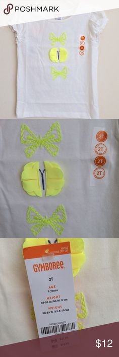 Girls Gymboree Cream & Yellow Butterfly Shirt 2T This shirt is new with tags attached from a smoke-free home.  Butterfly Tee:   • 60% cotton/40% polyester jersey,   • Features neon embroidery and grosgrain ribbon wings,   • Elasticized cuffs,   • Machine wash Gymboree Shirts & Tops Tees - Short Sleeve