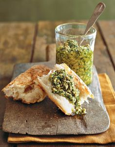 Parsley-Walnut Pesto. Perfect for spreading on crusty bread. #appetizers