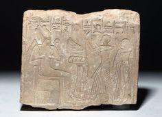 Egyptian Limestone Stele - Osiris with Supplicants : Lot 2A