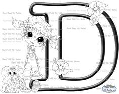 INSTANT DOWNLOAD Digital Digi Stamps Big Eye Big Head Dolls Digi  My Besties Alphabet Letter D By Sherri Baldy