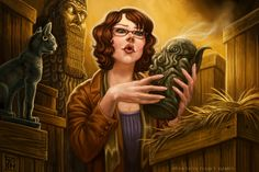 Research Assistant for Call of Cthulhu I painted this in 2011 and forgot to put it up.  ©Fantasy Flight Games