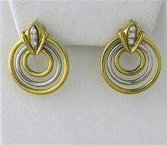 Estate 18k Gold Two Tone Diamond Triple Circle Drop Earrings starting bid $550/ July 21 @ hamptonauction.com