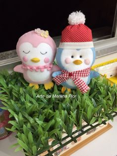 Pinguins felizes da vida ! Arte da Menina Flor/ feltro