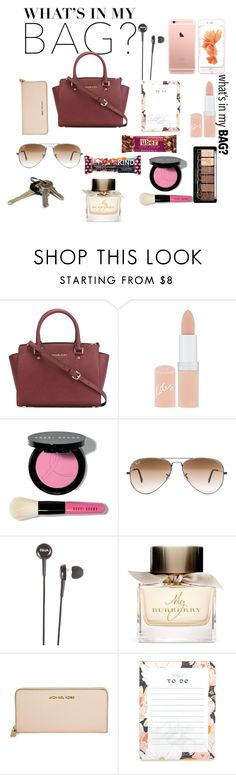What`s in my Bag by cherese-ealy on Polyvore featuring MICHAEL Michael Kors, Michael Kors, Ray-Ban, Bobbi Brown Cosmetics, Rimmel, Burberry, Avon and inmybag
