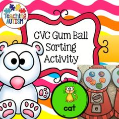 CVC Gum Ball SortingThis is a great cut and stick activity or velcro activity for students to learn more about CVC words. Students cut/stick the words/pictures into the correct gum ball machines. If you want this to be a resource that can be used over and over I recommend cutting out each machine and gum ball then laminating, students can select and place the gum balls in the correct machines.Great fun to help students practice their CVC words.