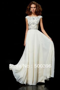 Modest Scoop Neck Champagne Chiffon Beading Prom Dresses With Cap Sleeves
