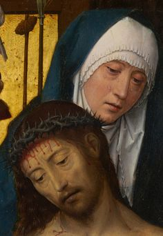 Hans Memling - The Man of Sorrows in the Arms of the Virgin. Detail. 1475 - 1479