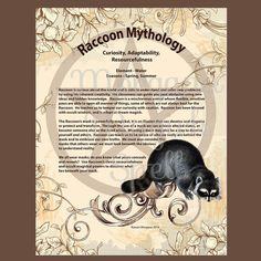 RACCOON MYTHOLOGY, Digital Download,  Book of Shadows Page, Grimoire, Scrapbook, Spells, Wiccan, Witchcraft,