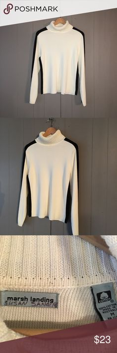 Cream & Black Colorblock Cotton Turtleneck Sweater Gorgeous, classy, and soft sweater in excellent condition! Offers are welcome. ☺️ Marsh Landing Sweaters Cowl & Turtlenecks