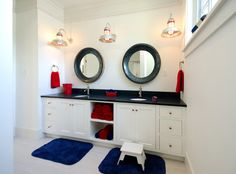 Outback's Featured in red, white, and blue Bathroom | Bonin Architects & Associates
