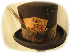 Men's Steampunk Hats  I like the idea of a card sharp character. Or maybe an inveterate poker player.