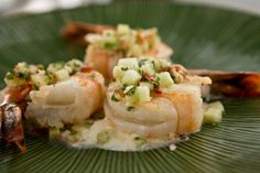 Roasted Shrimp with Spicy Cucumber Sambal and Lemon Creme Fraiche