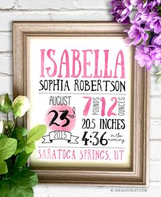 Baby Girl Birth Stats Print, Newborn Birth Stats Wall Art Printable, Personalized Birth Statistics, Print, Gift, Typography, Watercolor by SaraGourleyArt on Etsy https://www.etsy.com/listing/245452385/baby-girl-birth-stats-print-newborn