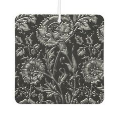 Silver Colored Floral Pattern Car Air Freshener - chic design idea diy elegant beautiful stylish modern exclusive trendy