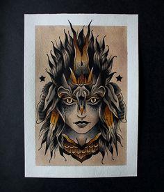 Sergey Vaskevich Neotraditionelles Tattoo, Ambigram Tattoo, Demon Tattoo, Face Tattoos, Leg Tattoos, Tattoos For Guys, Cool Tattoos, Traditional Chest Tattoo, Traditional Tattoo Design