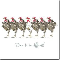 Dare Different Greeting Card-Funny Chicken Card, Friendship, Hens - Fun chicken card made with love in England. Image from an original watercolor painting. 145 mm x 14 - Chicken Humor, Chicken Art, Funny Chicken, Doodle Doo, Dance Images, Chickens And Roosters, Galo, Watercolor Cards, Watercolour Painting