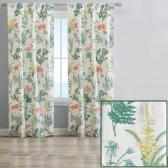 """Give your home a fresh new look with the Geneva window curtains from Aubrie Home Accents. This pair of curtain panels features a delicate floral pattern with colorful botanical illustrations to spruce up your bedroom, living room or dining room. Each panel measures 40"""" x 84"""" for a total width of 80 inches. The rod pocket header allows them to easily slip through for quick hanging. These curtains are made from polyester and are machine washable for easy care."""