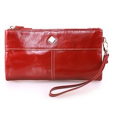 BIG SALE-Yafeige Women Large Capacity Bi-fold Leather Clutch Wallet Purse with Phone Pocket(Red) ** See this awesome image @