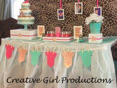 "Photo 5 of 11: Baby Shower/Sip & See ""It's a Girl! Tiffany Blue & Giraffe Print Babyshower"" 