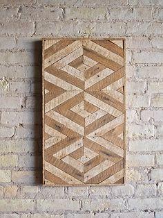 Reclaimed Wood Wall Art, Lath, Decor,Pattern, 3D, Geometric, Chevron by EleventyOneStudio on Etsy https://www.etsy.com/listing/243748943/reclaimed-wood-wall-art-lath
