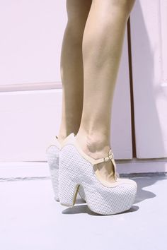 White Chunky High Heels . Mesh . Gorgeous