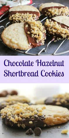 Chocolate Hazelnut Shortbread Cookies, a simple, easy melt in your mouth Christmas shortbread cookie, perfect plain or dipped in chocolate.|anitalianinmykitchen.com