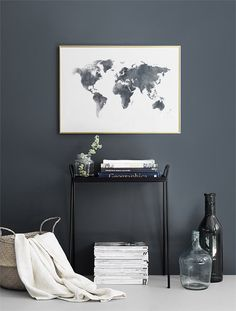World Map Grey, posters