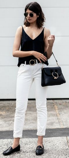 Talisa Sutton + black leather loafers + white jeans + black tank top + gorgeously contrasting outfit + sophisticated style + Loafers + cropped or rolled jeans!  Camisole/Jeans: Grana + Bag: J.W Anderson + Loafers: