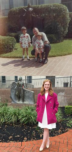 This Baylor student took this photo exactly where her mother and grandfather did. What a great idea!