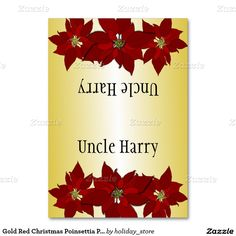 Gold Red Christmas Poinsettia Place Cards Table Card