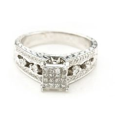 14K White Gold 1.0 CTTW Diamond Engagement Ring - Deeply Discounted Jewelry Deals $1000