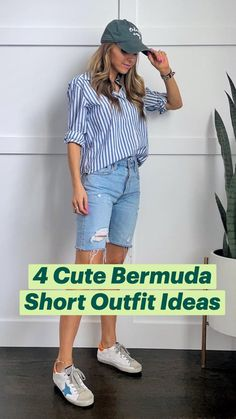 Short Outfits, New Outfits, Trendy Outfits, Fall Outfits, Summer Outfits, Bermuda Shorts Outfit, Bermuda Jeans, Long Shorts, Summer Shorts