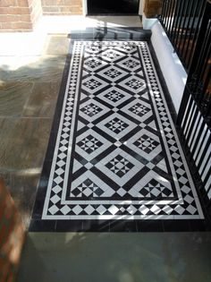 black and white victorian mosaic tile path red brick garden wall wrought iron rail and gate bespoke bin store london (13)