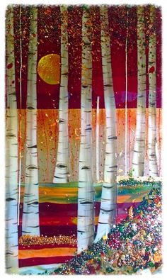 fused glass birch trees - Google Search