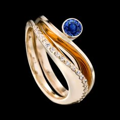 Covet Diamond band with Grace Sapphire Ring by Adam Neeley Modern Jewelry, Jewelry Art, Silver Jewelry, Fine Jewelry, Jewelry Design, Jewelry Center, Jewelry Making, Jewellery, The Sapphires