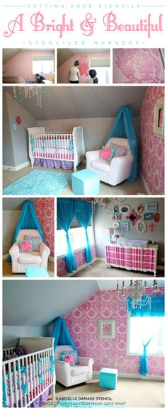 A pink and teal nursery with a Gabrielle Damask stenciled accent wall. http://www.cuttingedgestencils.com/damask-stencil-3.html  #nursery #wall #stenciling