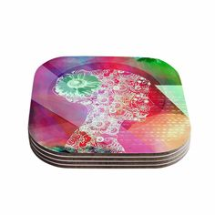 """AlyZen Moonshadow """"SILHOUETTE (LIGHT)"""" Pink Abstract Coasters (Set of 4)"""