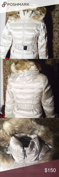 Bebe puffer jacket Bebe puffer jacket  champagne color knee length  NWT paid 200 for it will sell for 150$ or best offer bebe Jackets & Coats Puffers