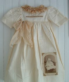 Vintage christening gown display