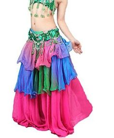 27d58b7051ea NWT Belly Dance Gradient Silk like Skirt Costume Soft Chiffon 3 layers 18  Colors. Nicer Jewelry