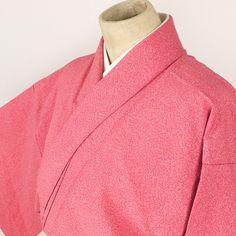 Pink komon kimono /【小紋】赤系抽象柄化繊単衣
