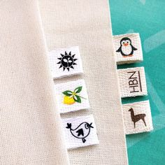 Personalized sewing labels Knitting labels Custom clothing labels Knitting tags Crochet labels Clothing name labels Fabric name tags Quilt Labels, Fabric Labels, Fabric Tags, Design Food, Tag Design, Personalized Labels, Custom Labels, Design Package, Sewing Labels