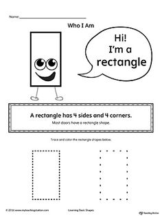 Learn the basic geometric shape - rectangle, with a fun and simple activity. This printable is perfect for introducing the concept of shapes to children in preschool. Shapes Worksheets, Writing Worksheets, Printable Worksheets, Printable Shapes, Free Printable, Preschool Lessons, Kindergarten Worksheets, Preschool Shapes, Quotes For Students