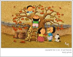 감따기,추석.명절.이미지,그림,일러스트,박요한일러스트 : 네이버 블로그 Art For Kids, Crafts For Kids, Calendar Design, Free Illustrations, 9 And 10, Harvest, Applique, Teddy Bear, Clip Art