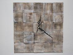 Provance+bílé+dřevěné+hodiny+kostky+Dřevěné+hodiny+jsou+vyrobeny+z+kostek+masivního+dřeva.+Při+jejich+výrobě+byla+použita+technika+opalování+a+kartáčování.+Design+hodin,+použitý+materiál+a+způsob+výroby+s+důrazem+na+strukturu+a+zajímavé+detaily+dřeva+tak+zajistí+jejich+jedinečnost+a+originalitu.+Hodiny+obsahují+hodinový+strojek+Quartz+s+velmi+tichým+chodem+a... Clock, Wall, Design, Home Decor, Watch, Decoration Home, Room Decor, Clocks